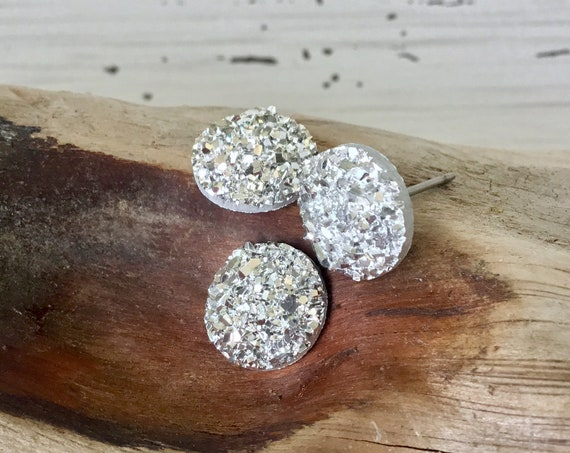 Silver Shiny Rock Crystal Druzy Earrings Pierced studs 10mm Hypoallergenic Titanium Allergy safe Wedding Jewelry Minimalist Bridesmaid Gifts