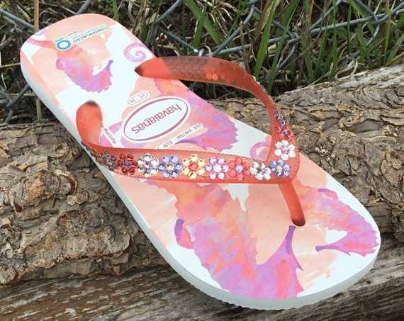 Pink Coral Havaianas Flip Flops Seahorse Conservation Crystal Daisy Floral w/ Swarovski Rhinestone Jewel Wedding Flower Bridal Charity Shoes