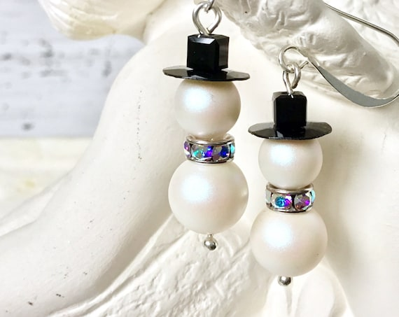 Crystal Snowman Earrings Christmas Winter theme Drop Dangle Silver Titanium Hypoallergenic w/ Swarovski Pearls Beads Holiday Jewelry