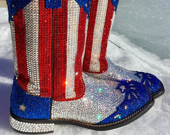 "Custom Service Rhinestone Cowboy Motorcycle Riding Bike ""Got Boots?"" w/ Swarovski Crystal Bling Strass Dynamite Coverage on YOUR Shoe pair"