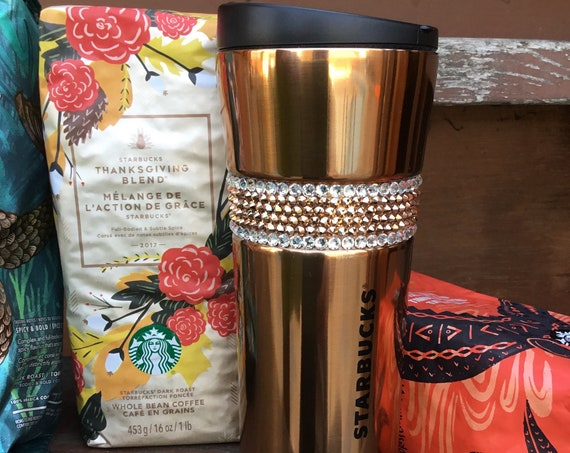 Stainless Starbucks Coffee Cup Tumbler w/ Swarovski Rose Gold Crystal 16 oz Grande Hot Tea Drink Thermos To Go Mug Rhinestone Holiday Gift