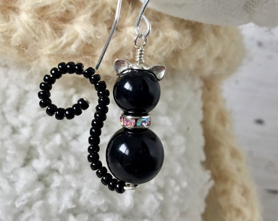 Black Cat Earrings or Pendant Charm Swarovski Crystal Pearl Halloween Sterling Silver Dangle Titanium Hypo Trick Treat Costume Cosplay Gift