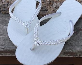 b9d165a6e6753 White Pearl Havaianas Slim Flip Flops Bridal Crystal Rose w Swarovski  Rhinestone Bling Bride Silver BridesMaid Beach Wedding shoes