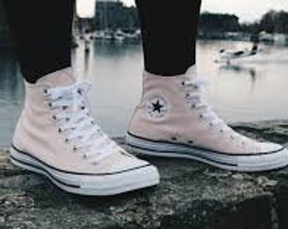 Baby Pink Converse Petal Blush Rose Custom High Top w/ Swarovski Crystal Rhinestone Bling Chuck Taylor All Star Bride Wedding Sneakers Shoe