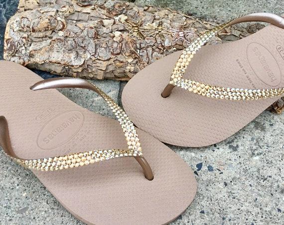 Rose Gold Flip Flops Custom Crystal Flat Havaianas Metallic Bridal w/ Swarovski Rhinestone Jewels Bling Beach Wedding Bride reception Shoes