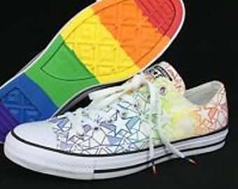 9478b94b3c3f Pride Converse Low Top Rainbow Ladies 2017 Geo Star Custom LGTBQ w   Swarovski Crystal Rhinestone Bling Chuck Taylor All Star Sneakers Shoes