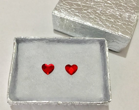 6mm Custom Swarovski Crystal Red Heart Valentine Love Earring set Wedding Rhinestone w/ Silver Titanium Post Hypoallergenic Minimalist Studs