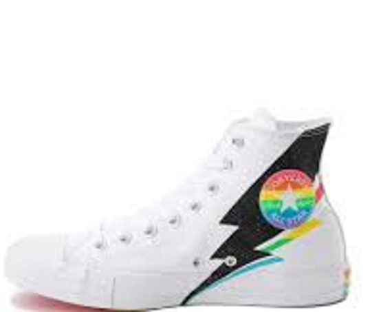 Rainbow 2019 Pride Converse LGBTQ Multicolor White High Top Glitter Lightning Canvas Chuck Taylor w/ Swarovski Crystal All Star Sneaker Shoe