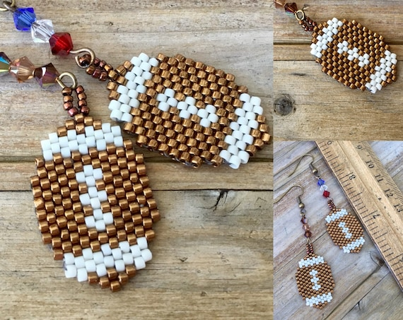 Football Game Earrings Team Sports Fan Tailgate Party Bead Bronze Custom w/ Swarovski Crystal Hypo Titanium Drop Fun Ultimate Jewelry Gifts