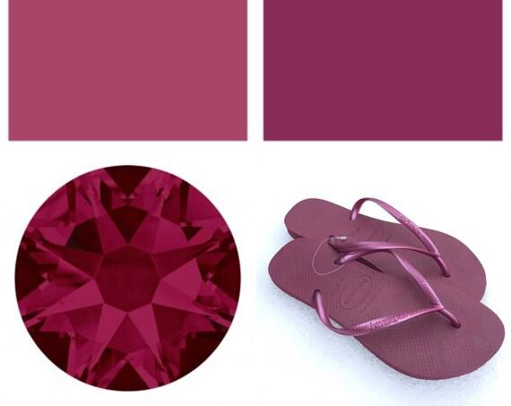 Pink Havaianas Slim Flip Flops Beet Ruby Red Raspberry Fuchsia w/ Swarovski Rhinestone Jewel Beach Bridal Wedding Bling Custom Crystal Shoes
