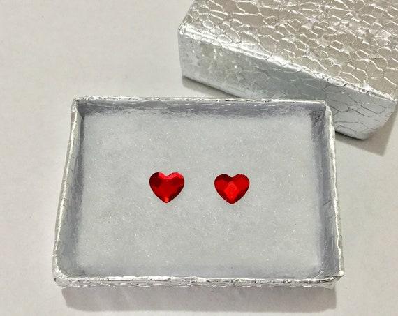 Red Heart Earring Pair 6mm Custom Swarovski Crystal Valentine Love Wedding Rhinestone w/ Silver Titanium Post Hypoallergenic Minimalist Stud