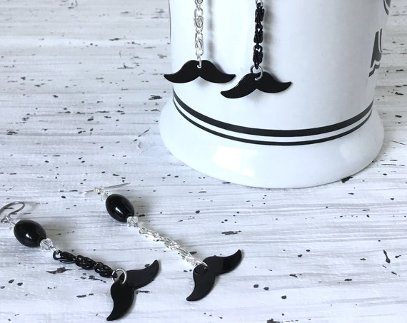 Support Movember Moustache Earrings w/ Swarovski Crystal Drop Mens Health month Gift French Hook Silver Titanium Hypo Charm Jewelry Gift