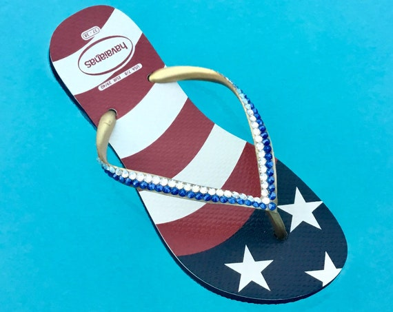 Custom USA Havaianas Slim Crystal Flip Flop w/ Swarovski Rhinestone Stars & Stripes Memorial Day Red White Blue July 4 Independence Day Shoe