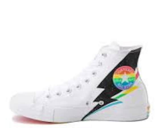 Rainbow 2019 Pride Converse LGBTQ Multicolor White High Top Glitter Lightning Canvas Chuck Taylor w/ Swarovski Crystal All Star Sneaker Shoe