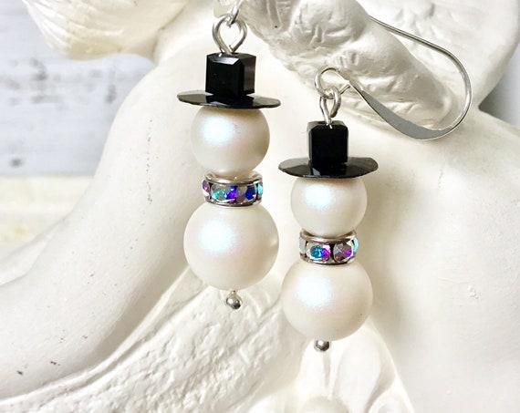 Crystal Snowman Earrings Christmas Winter theme Drop Dangle Silver Titanium Hypoallergenic w/ Swarovski Pearls Beads Holiday Jewelry