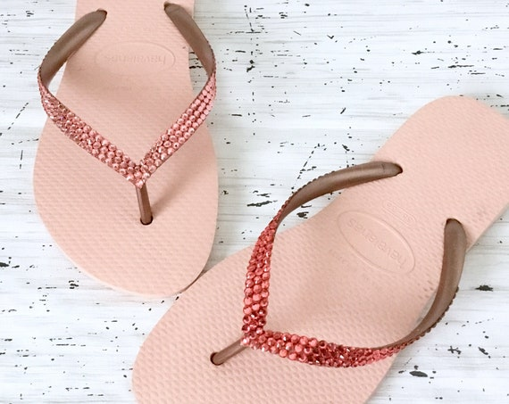 Coral Pink Crystal Flip Flops Havaianas Slim Rose Peach Salmon w/ Swarovski Rhinestone Bling Custom Beach Bride Wedding Sandals Party Shoes