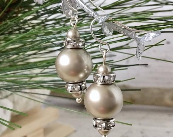 Platinum Gray Chandelier Pearl Earring Swarovski Crystal Pearls Elegant Grey Silver Gold Drop Dangle Hooks Titanium Hypo Allergy Ladies Gift