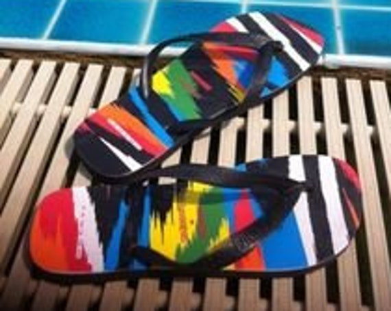Rainbow Havaianas flat MISSONI Flip Flops Collaboration Custom W US 10/11 Multi Color w/ Swarovski Crystal Jet Black Ladies Thong Beach Shoe