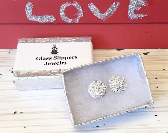 Silver Druzy Shiny Rock Crystal Earrings Pierced studs 10mm 8mm Hypo Titanium Allergy safe Wedding Jewelry Minimalist Bridesmaid Gifts