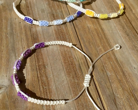 White Wrap Bracelet Adjustable Macrame Knot Beaded Summer Boho Rainbow Ombre Braid Bride Wedding Friendship gift Mens Beach Surf Girl Bangle