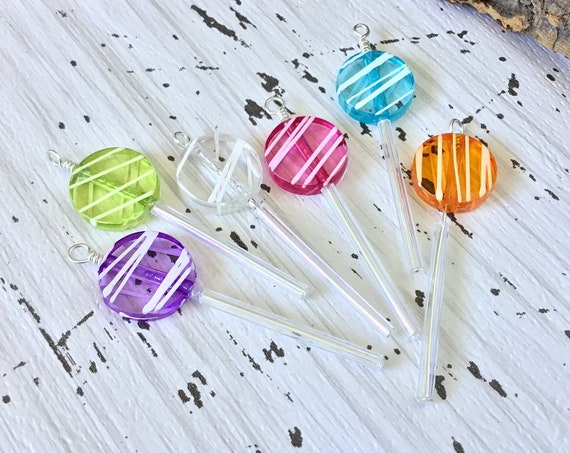 Lollipop Hard Candy Suckers Pendant Charm or Dangle Earring pair novelty sweet treat Silver Titanium Czech Rainbow Jewel Pixie Stick Gift