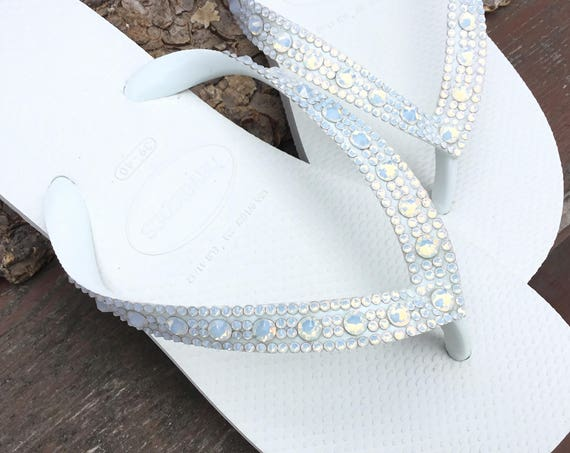 White Opal Golden Crystal Wedding Flip Flops Full Moon Bling Havaianas Cariris Wedge Heel w/ Swarovski Rhinestone Beach Bride Reception Shoe