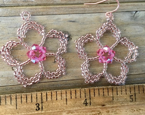 Blush Pink Flower Earrings Rainbow Color Swarovski Crystal Drop Bead Copper Rose Gold Silver Hypo Titanium Wedding Set Ladies Jewelry Gift