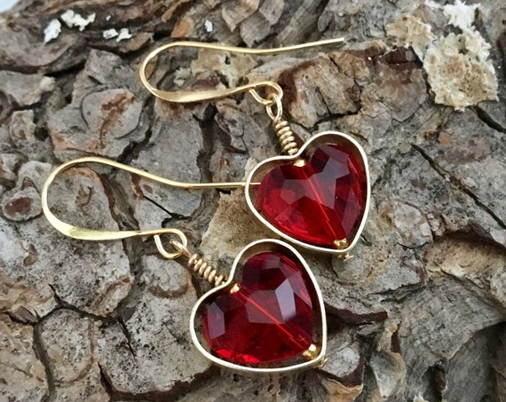 Heart Earrings Swarovski Red Crystal AB Pink Dangle Drop Ear wire Brass Picture Frame Gold Black Rainbow Ladies Sweetheart Girlfriend Gifts