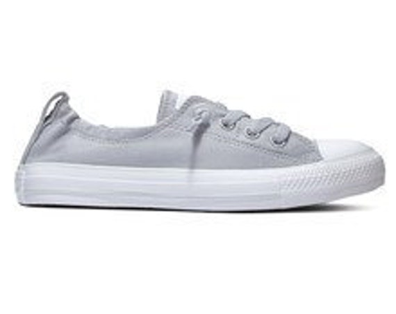 Wolf Gray Converse Shoreline Slip on Custom w/ Swarovski Crystal Rhinestone Jewels Bling Grey Chuck Taylor All Star Wedding Sneakers Shoes