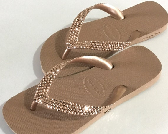Rose Gold Flip Flops Custom Crystal Flat Havaianas Metallic Bridal w/ Swarovski Rhinestone Jewels Bling Beach Wedding Bride reception Shoes