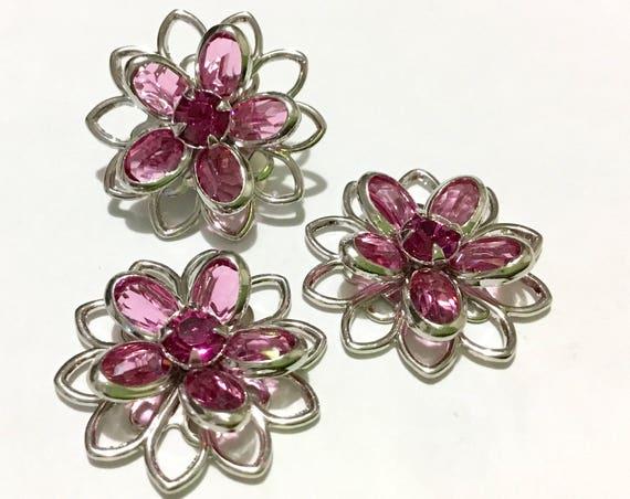 Silver Fused Floral Filigree Earrings Swarovski Crystal Light Rose Pink Rhinestone 20mm Titanium Post Flower Stud pierced Ladies Gift