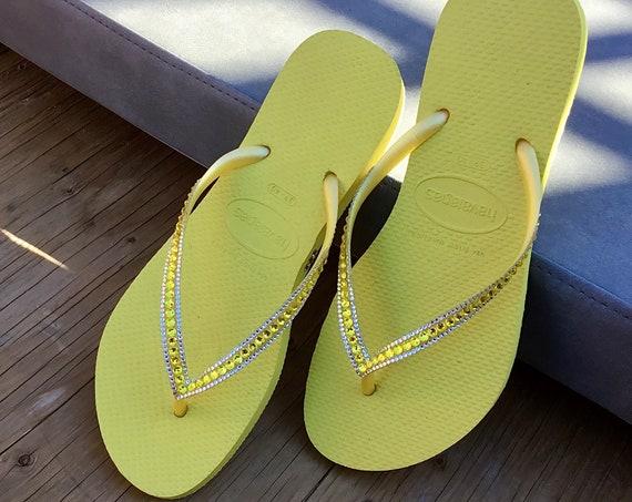 Yellow Havaianas flip flops Slim flat Custom Neon Citrine w/ Swarovski Crystal Rhinestone Jewels Sophisticate Beach Wedding Bridal flat Shoe