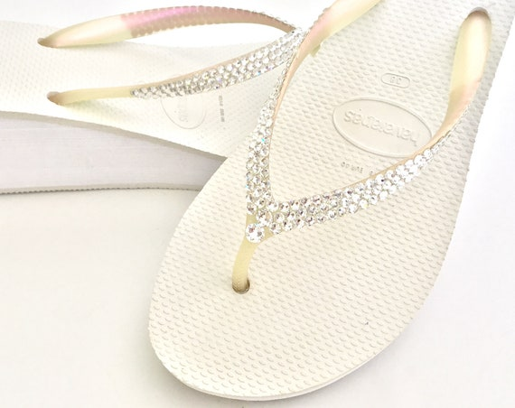 Black White Wedding Flip Flops Heel Havaianas 2.4 Wedge w/ Swarovski Crystal Rhinestone Shoes Bling Wedge Bridal Shoes Reception Bridesmaid