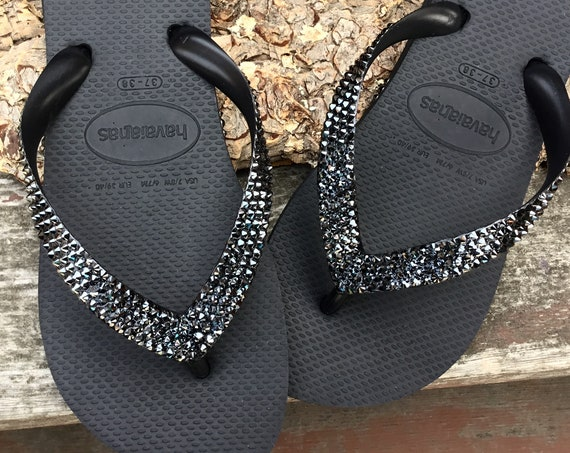 Gray Hematite Custom Crystal Flip Flops solid w/ Swarovski Rhinestone Jewel Bling Havaianas flat or Cariris wedge Beach Bride Wedding Shoes