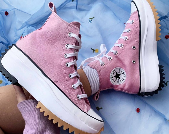 Converse Run Star Hike Pink White Boot Platform Wedge High Canvas Kicks w/ Swarovski Crystal Rhinestone Chuck Taylor All Star Sneaker Shoe