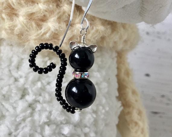 Black Cat Earrings or Pendant Charm Swarovski Crystal Pearl Halloween Sterling Silver Dangle Titanium Hypo Trick Treat Costume Cosplay Gift