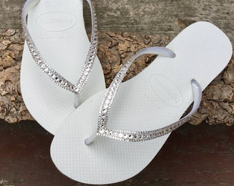 cc184b28bd26 White Havaianas Slim Crystal Wedding flip flops Silver ocean sea Custom  Bridal w  Swarovski Bling Dynamite Rhinestone Beach Thong Shoes