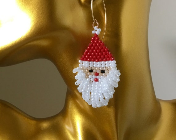 Santa Claus Cosplay Earrings Broach Pin Pendant Christmas Tree Ornament Color Nationality Drop Hypo Silver Gold Seed Bead Jewelry Gifts