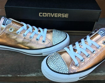 e04bca95063250 Rose Gold Converse Low Top Blush Pink Copper Metallic w  Swarovski Crystal  Wedding Chuck Taylor Rhinestone Bling All Star Sneakers Shoes
