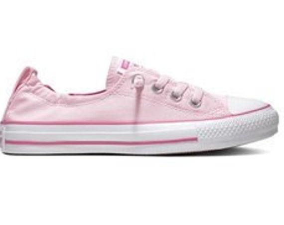 Pink Converse Shoreline Slip on Boat Blush Rose Petal Wedding w/ Swarovski Crystal Rhinestone Bling Chuck Taylor All Star Bride Sneaker Shoe