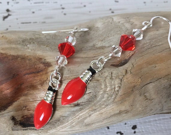 Red Light Bulb Earrings Christmas Lights Charm w/ Swarovski Crystal Enamel Drop French Hook Silver Titanium Jewelry Festive Holiday Gifts