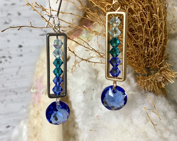 Sapphire Blue Ombre Frame Earrings w/ Swarovski Crystal Jewel Drop Dangle Kidney Hooks Gold Silver Titanium Hypo Ladies Christmas Gifts