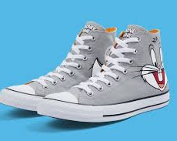 Cartoon Converse Looney Tunes High Top Bugs Bunny Gray Custom w/ Swarovski Crystal Rhinestone Jewel Chuck Taylor All Star Sneakers Shoes