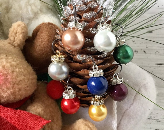 Crystal Pearl Earrings Holiday Ornament Ball Christmas Tree Winter Drop Dangle Silver Gold Titanium Hypo w/ Swarovski Pearls Beads Jewelry