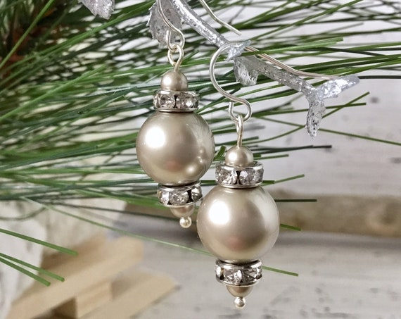 Platinum Gray Chandelier Pearl Earring Swarovski Crystal Pearls Elegant Grey Silver Gold Drop Dangle Hooks Titanium Hypo Allergy Ladies Gift