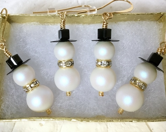 Crystal Snowman Pearl Earrings Christmas Winter White theme Drop Dangle Silver Titanium Hypo w/ Swarovski Pearls Beads Holiday Jewelry Gift