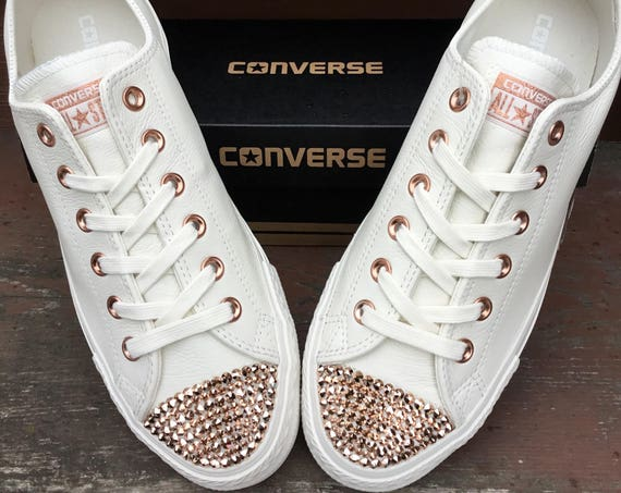 Ivory Converse Leather Low Top Cream Blush Pink Rose Gold Chuck Taylor w/ Swarovski Crystal Rhinestone Jewel All Star Wedding Sneakers Shoes