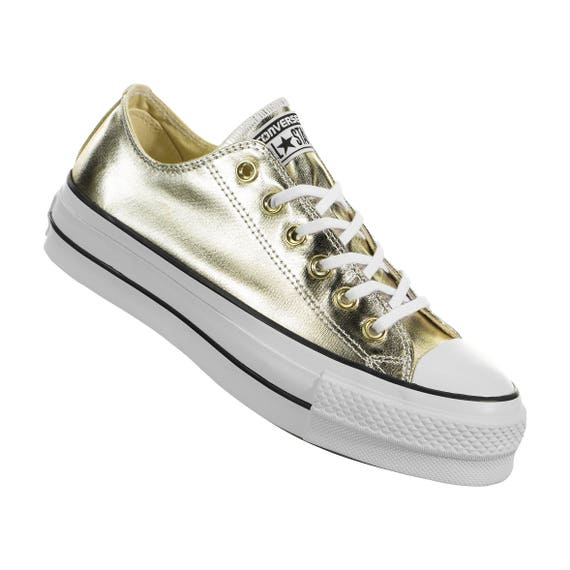 Gold Platform Converse heel wedge Metallic Lift Low Top Club shoe Custom w/ Swarovski Crystal Rhinestone Chuck Taylor All Star Sneakers Shoe