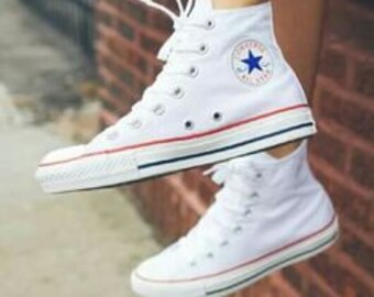 bc4857c0f41c Kids White Converse High Tops Children Youth Girl Boy Custom Kick w   Swarovski Crystal Rhinestone Bling Chuck Taylor All Star Sneakers Shoes