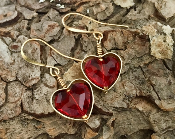 Red Heart Earrings Swarovski Crystal Dangle Drop Earwire Brass Picture Frame Gold Custom Valentines Day Ladies Sweetheart Girlfriend Gifts